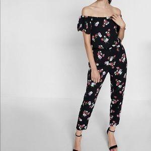 Express Floral Print Off The Shoulder Jumpsuit S